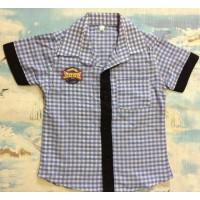 Клетчатая рубашка с черными вставками, для мальчиков от 5 до 8 лет|1216406