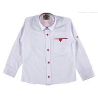 Рубашка для мальчиков, цвет белый с красным|1235379