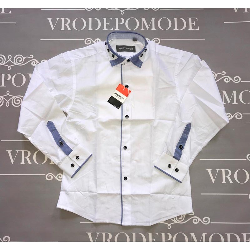 Рубашка для мальчиков, цвет-белый|19725
