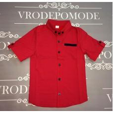 Детская рубашка для мальчиков, цвет-красный|25178