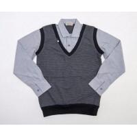 Рубашка обманка для мальчиков, цвет-серый|398703