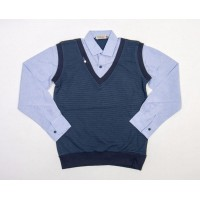 Рубашка обманка для мальчиков, цвет-синий|398703