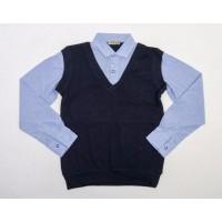 Рубашка обманка для мальчиков, цвет-синий|398720