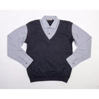 Рубашка обманка для мальчиков, цвет-серый|398720