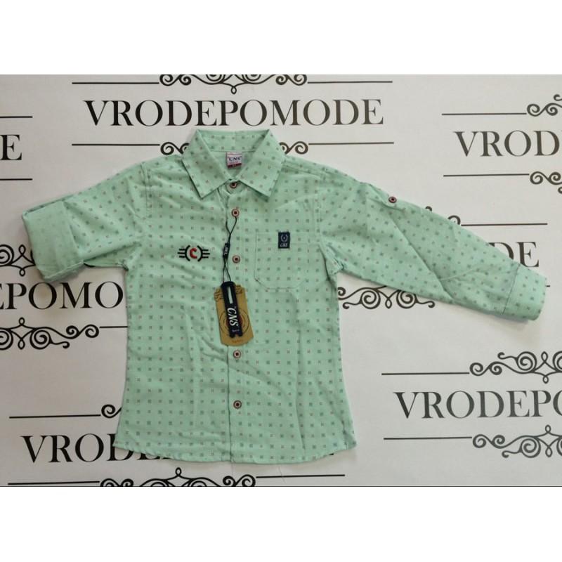 Рубашка  для мальчиков от 5 до 12 лет, цвет - фисташковый |400633