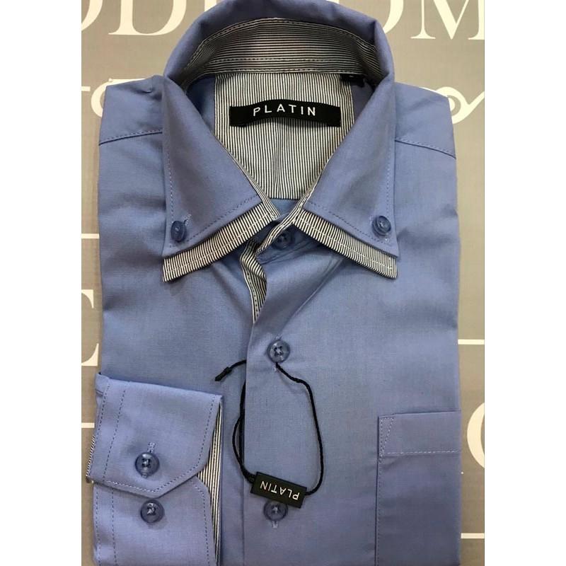 Рубашка для мальчиков, цвет-голубой |41616-1