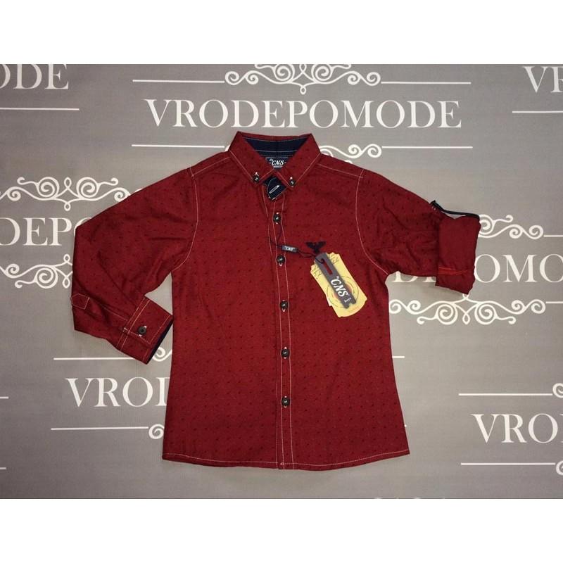 Рубашка для мальчиков, цвет бордовый|439709