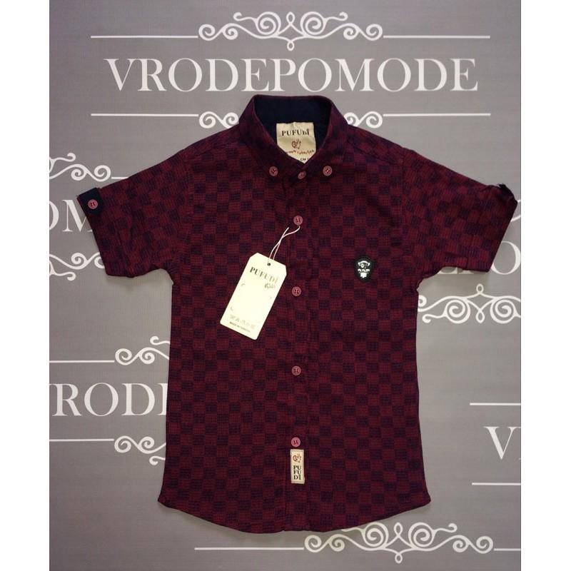 Рубашка для мальчиков, цвет-бордовый|82382
