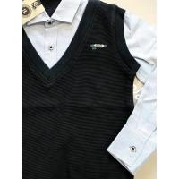 Рубашка-обманка для мальчиков, цвет-синий|9237