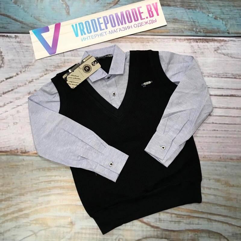 Рубашка-обманка для мальчиков, цвет-синий 9237