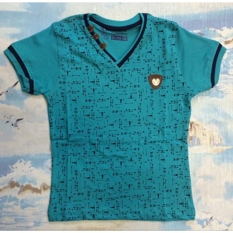 Детская футболка, цвет бирюзовый |7702