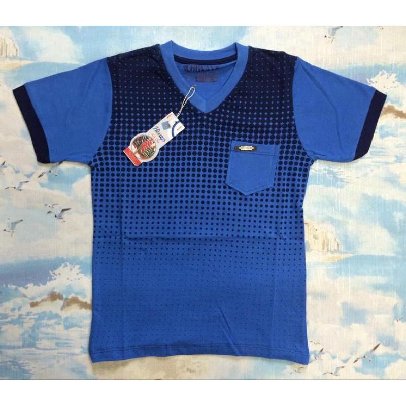 Футболка для мальчиков от 9 до 12 лет, цвет: светло - синий |7702