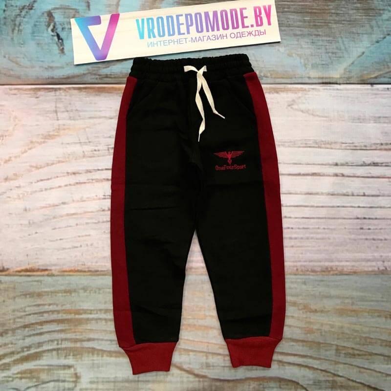 Спортивные штаны на флисе, цвет-черный|23101