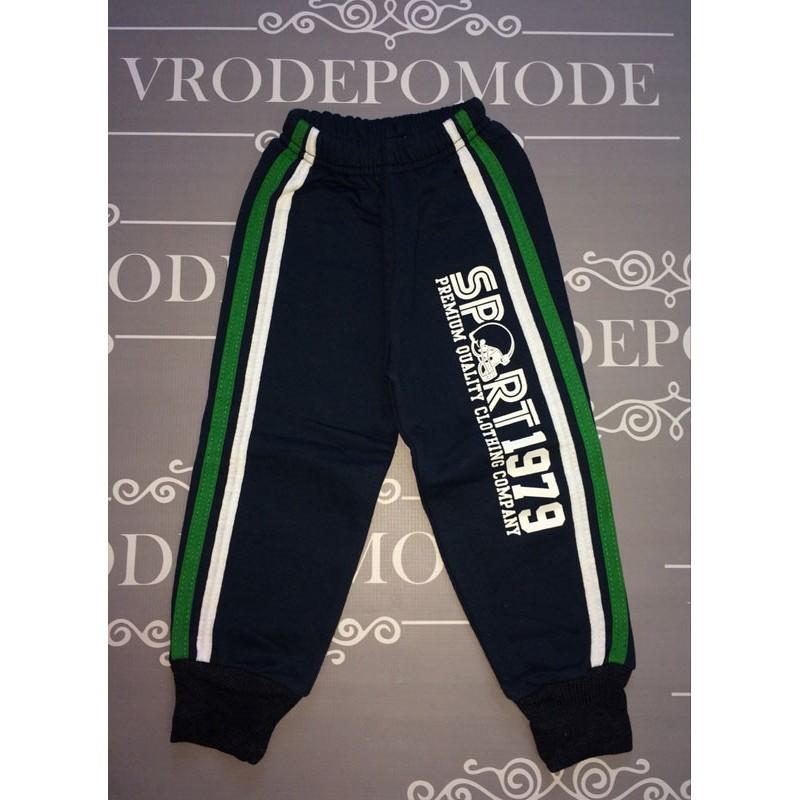 Спортивные штаны на флисе для мальчиков, зеленый лампас |81033