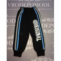 Спортивные штаны на флисе для мальчиков, голубой лампас |81033