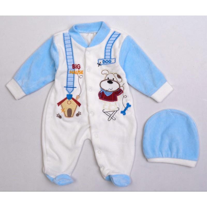 Велюровый костюм для мальчиков, цвет-голубой 11697