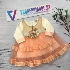 Платье для девочек, цвет- пудра |20882