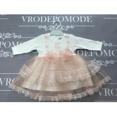 Платье для девочек, цвет-персиковый|9884
