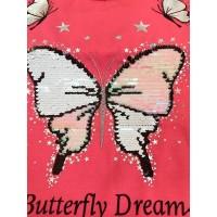 Розовая футболка с пайетками перевертышами|15436