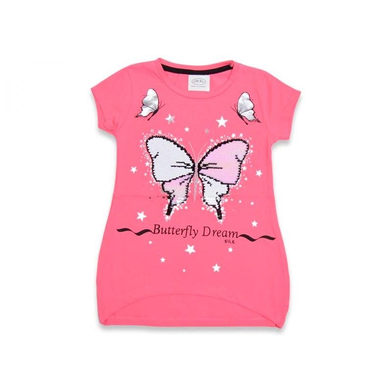 Розовая футболка с пайетками перевертышами 15436