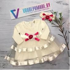 Детское платье в комплекте с повязкой|12869