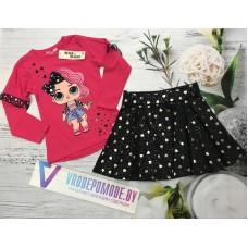Розовая кофта с юбкой в комплекте |380981
