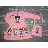 Платье с сумочкой, цвет светло-розовый|511022