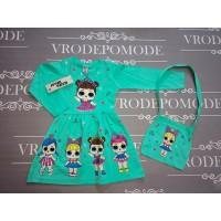 Платье с сумочкой, цвет бирюзовый|511022