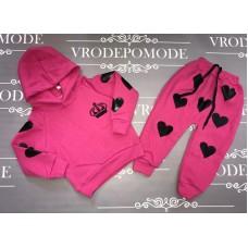 Костюм на флисе для девочек, цвет-розовый|90352