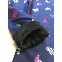 Леггинсы на меху с неоновыми бабочками, цвет темно-синий|95629
