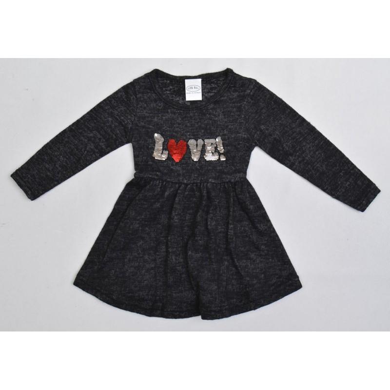 Утепленное платье с пайетками перевертышами, цвет-серый|11321
