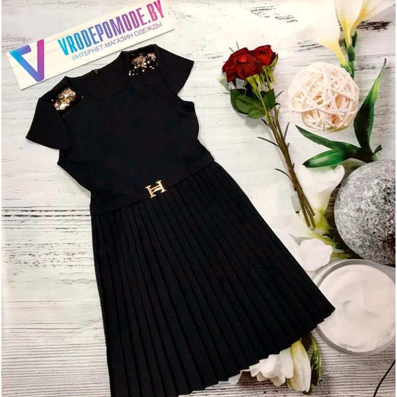 Платье для девочек, цвет темно-синий  12697