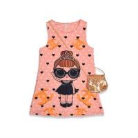 Детское платье с сумочкой, цвет-пудра |18630-6