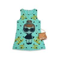 Детское платье с сумочкой, цвет-бирюзовый |18630-7