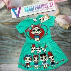 Платье для девочек, цвет-бирюзовый |1962