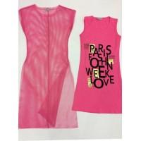 Платье с накидкой, цвет -розовый|251867
