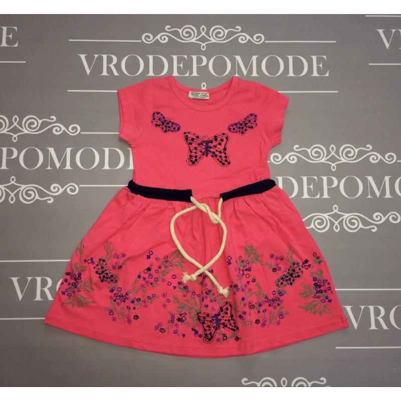 Платье с бабочками,  цвет -розовый|291360