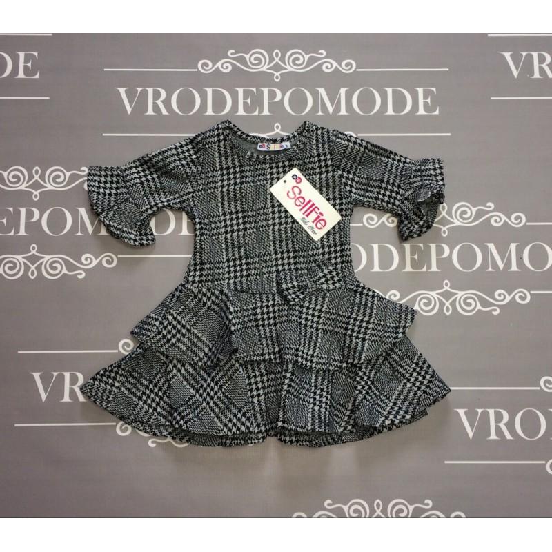 Платье с воланами, маломерит, цвет -серый|30451