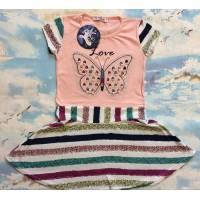 Платье в полоску для девочек от 6 до 10 лет, цвет розовый |33657