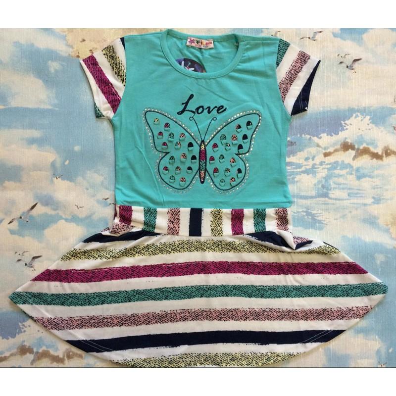 Платье в полоску для девочек от 6 до 10 лет, цвет бирюзовый |33657