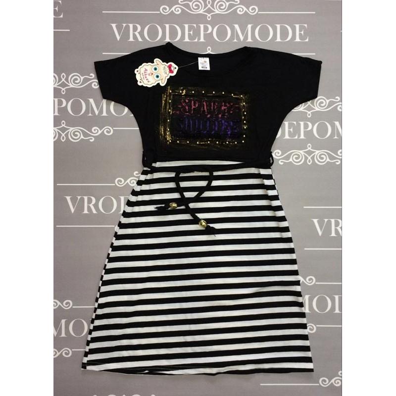 Платье для девочек, цвет-черный|506138