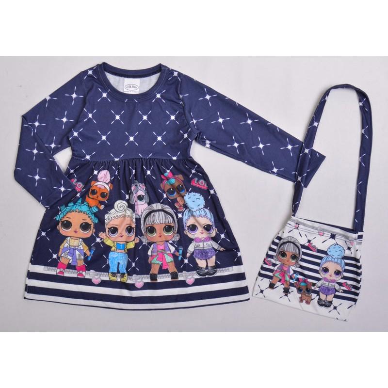 Платье с сумочкой для девочек, цвет-синий|510502