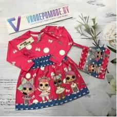 Платье с сумочкой, цвет-малиновый|510503