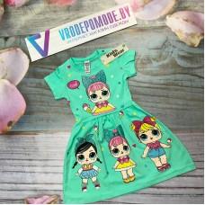 Детское платье для девочек, цвет-бирюзовый|511032