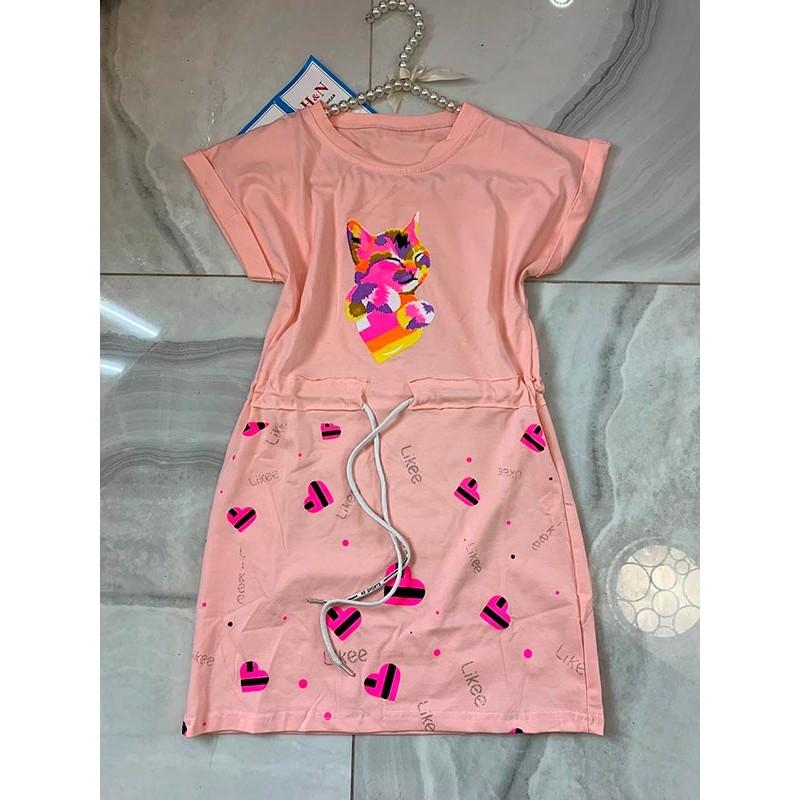 Спортивное платье для девочек, цвет светло-розовый|7540