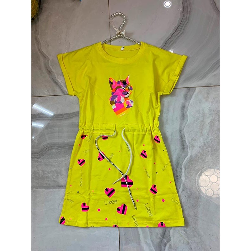 Спортивное платье для девочек, цвет-желтый|7540