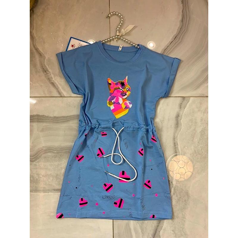 Спортивное платье для девочек, цвет-голубой|7540