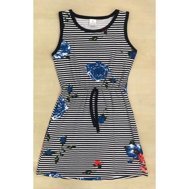 Платье с голубым принтом для девочек от 5 до 10 лет |81001