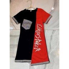 Спортивное платье для девочек, цвет-красный|32908