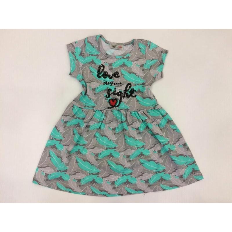 Платье для девочек от 3 до 7 лет, бирюзовый принт|91346